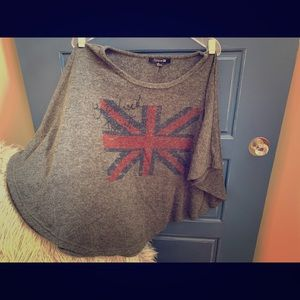 Poncho style short sleeved sweater